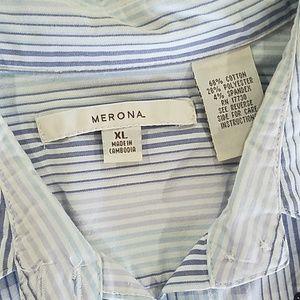 Merona Tops - Woman's Stripe Light Blue 3/4 sleeve button XL